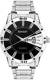 Amser Steel Design Date And Time Casual Watch For Men And Boys 00164
