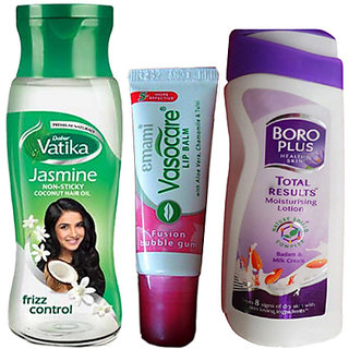 Winter Combo Pack  Dabur Vatika Jasmine Hair Oil (100 ml) + Boro Plus Lotion (8-12 gm) + Lip Balm 1 Pc