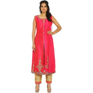 Soch Pink and Gold Raw Silk Suit Set (Unstitched)