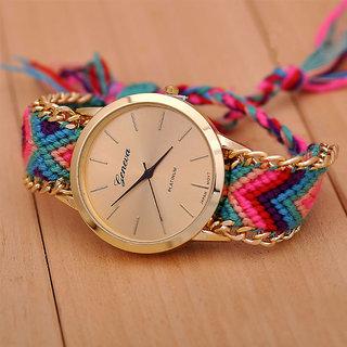 Tecita Women Vintage Round Dial Synthetic Multicolor Strap Analog Watch