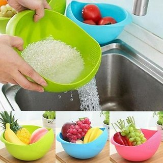 Something New Multipurpose Colander Vegetable And Fruit Basket Cum Rice Wash Sieve Washing Bowl Set of 2