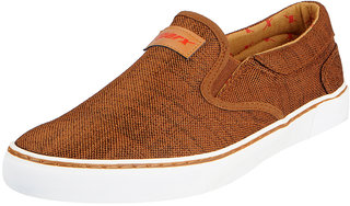 Sparx Men's Tan White Canvas Loafers