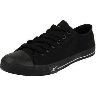 Sparx Mens Black Canvas Sneakers