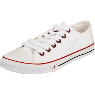 Sparx Mens White Canvas Sneakers