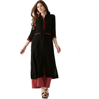 Shree wow Black Crepe Straight Kurti