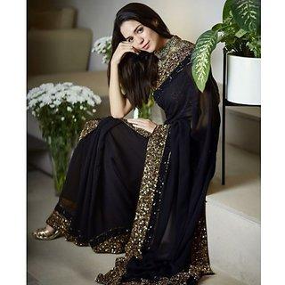 4fe0299e834b8 Buy Srk Black Colour Georgette Plain Saree Online - Get 55% Off