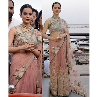Buy Srk Peach Colour Net Embroidered Saree Online 2019 From