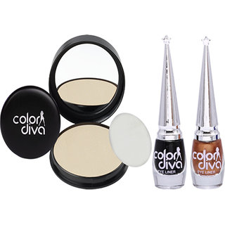 Color Diva Triple Action 1 Natural Compact Powder  2 Eyeliner (Black  Copper) C506