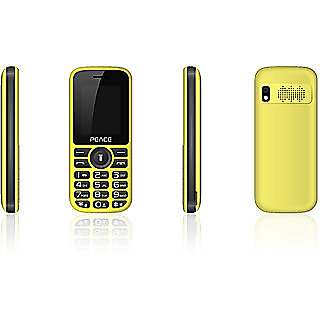 Peace P4 Yellow Black 1.8 Inch Dual Sim Mobile Phone With 850 mAh Battery Camera Torch 1 Year Manufacturer Warranty