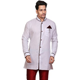 CONWAY WHITE ETHNIC STYLES SHORT KURTA FOR MEN'S