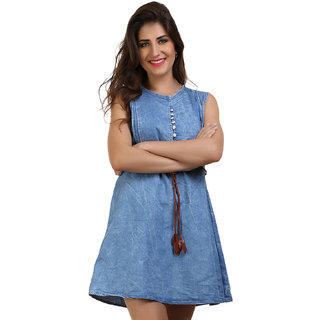 BuyNewTrend Blue Sleeveless Denim Dress For Women