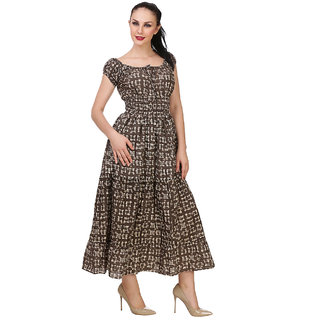 BuyNewTrend Grey Crepe Full Length Printed Dress For Women