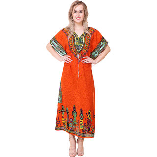 BuyNewTrend Stylish Long Kaftan Dress Made of Crepe For Women