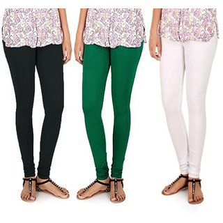 BuyNewTrend Black Green White Cotton Legging For Women-Pack of 3