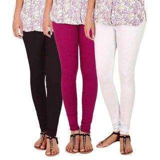 BuyNewTrend Black Magenta White Cotton Legging For Women-Pack of 3