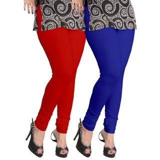 BuyNewTrend Maroon Royal Blue Cotton Legging For Women-Pack of 2