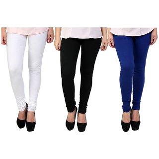 BuyNewTrend White Black Royal Blue Cotton Legging For Women-Pack of 3