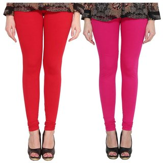 BuyNewTrend Pink Red Cotton Legging For Women-Pack of 2
