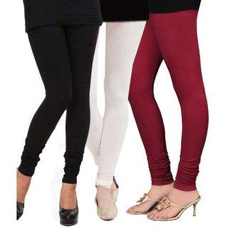 BuyNewTrend Black White Maroon Cotton Legging For Women-Pack of 3
