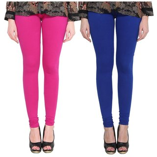 BuyNewTrend Pink Royal Blue Cotton Legging For Women-Pack of 2