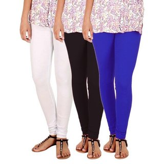 BuyNewTrend Black White Royal Blue Cotton Legging For Women-Pack of 3