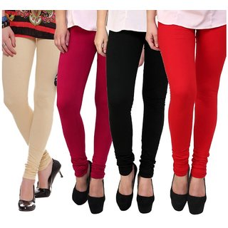 BuyNewTrend Beige Maroon Black Red Cotton Legging For Women-Pack of 4