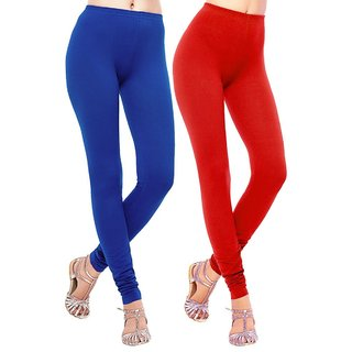 BuyNewTrend Red Royal Blue Cotton Legging For Women-Pack of 2
