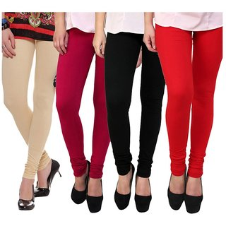 BuyNewTrend Beige Maroon Red Black Cotton Legging For Women-Pack of 4