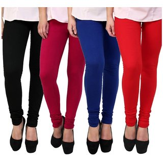 BuyNewTrend Black Maroon Royal Blue Red Cotton Legging For Women-Pack of 4