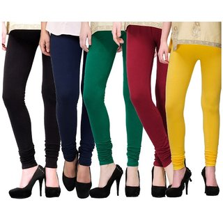 BuyNewTrend Black Navy Green Maroon Yellow Cotton Legging For Women-Pack of 5