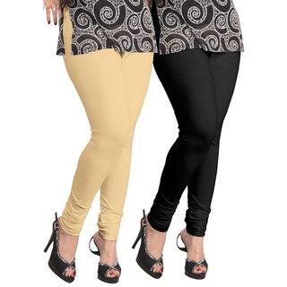 BuyNewTrend Beige Black Cotton Legging For Women-Pack of 2