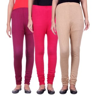 BuyNewTrend Magenta Pink Beige Cotton Legging For Women-Pack of 3