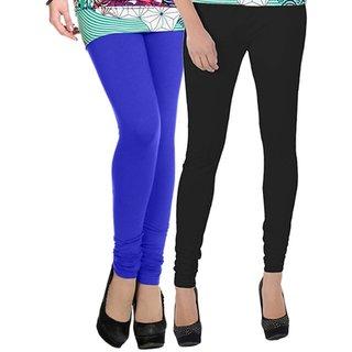 BuyNewTrend Royal Blue Black Cotton Legging For Women-Pack of 2