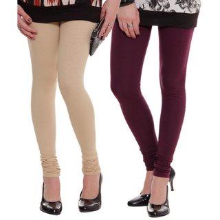 BuyNewTrend Beige Maroon Cotton Legging For Women-Pack of 2