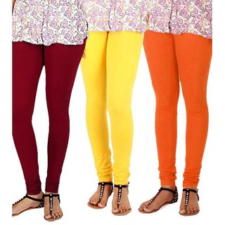 BuyNewTrend Maroon Yellow Orange Cotton Legging For Women-Pack of 3