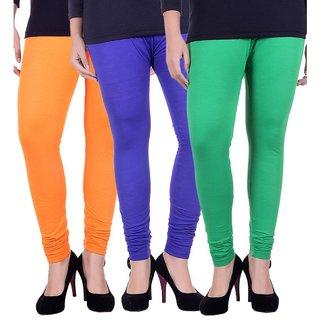 BuyNewTrend Orange Royal Blue Green Cotton Legging For Women-Pack of 3