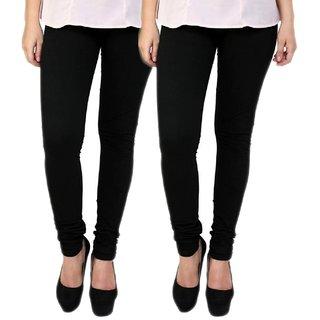 BuyNewTrend Black Black Cotton Legging For Women-Pack of 2