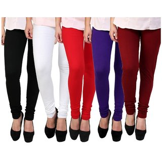 BuyNewTrend Black White Red Purple Maroon Cotton Legging For Women-Pack of 5