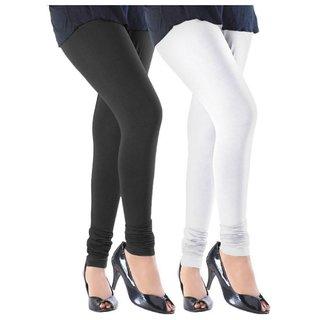 BuyNewTrend White Black Cotton Legging For Women-Pack of 2