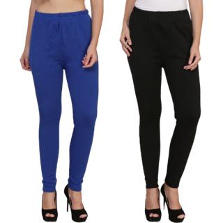 BuyNewTrend Royal Black Plain Full Length Woolen/Winter Legging For Women