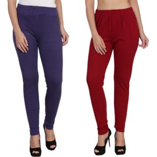 BuyNewTrend Purple Maroon Plain Full Length Woolen/Winter Legging For Women