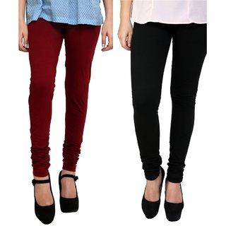 BuyNewTrend Black Maroon Cotton Legging For Women-Pack of 2