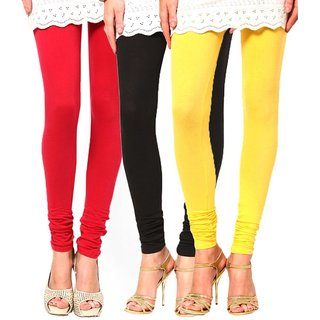 BuyNewTrend Red Black Yellow Cotton Legging For Women-Pack of 3