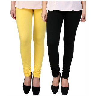 BuyNewTrend Yellow Black Cotton Legging For Women-Pack of 2