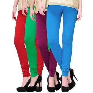 BuyNewTrend Red Green Magenta Sky Blue Cotton Legging For Women-Pack of 4