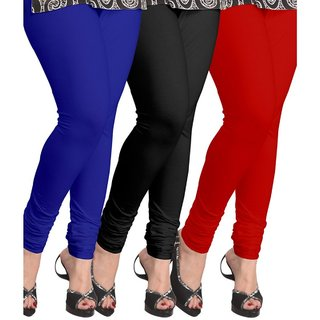 BuyNewTrend Roayl Blue Black Red Cotton Legging For Women-Pack of 3