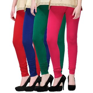 BuyNewTrend Red Roayl Blue Green Pink Cotton Legging For Women-Pack of 4