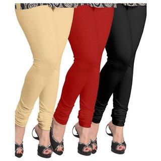 BuyNewTrend Beige Maroon Black Cotton Legging For Women-Pack of 3