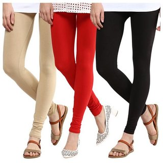 BuyNewTrend Beige Red Black Cotton Legging For Women-Pack of 3