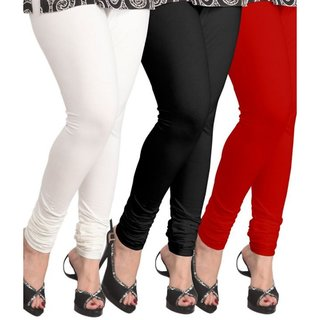 BuyNewTrend White Black Red Cotton Legging For Women-Pack of 3